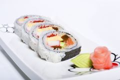Maki roll on plate Royalty Free Stock Image