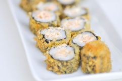 Maki or roll with salmon stuffed Royalty Free Stock Images