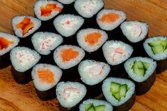 Maki roll set. Salmon, crab, cucumber Royalty Free Stock Photos