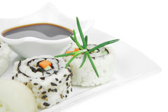 Maki Roll  on white plate Stock Images