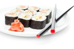 Maki rolls on the plate Royalty Free Stock Images
