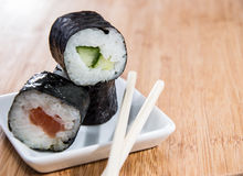 Maki Rolls on a small plate Stock Photo