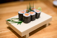 Maki rolls with smoked salmon Royalty Free Stock Photos