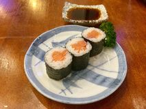 Maki rolls and soy stock photography