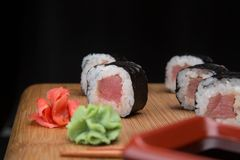 Maki rolls with tuna. Sushi menu. Japanese food. Stock Images