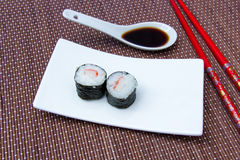 Maki with surimi of bamboo seen up close Stock Image