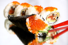 Maki sushi. Delicious maki sushi with caviar Royalty Free Stock Photos