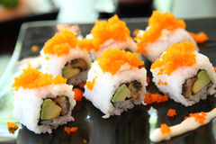 Maki sushi avocado and eel Stock Photos