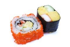 Maki sushi , California roll. Sushi-Maki with Surimi (Imitation crab) and egg Stock Photo