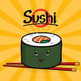 Maki Sushi-Karikatur Lizenzfreie Stockbilder