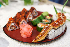 Maki sushi on  plate Royalty Free Stock Photo