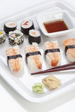 Maki sushi in plate, close up Stock Images