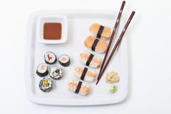 Maki sushi in plate, elevated view Stock Images
