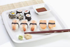 Maki sushi in plate on place mat Royalty Free Stock Image