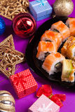 Maki sushi. On purple background Royalty Free Stock Images