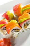 Maki Sushi - Rainbow Roll Stock Photo