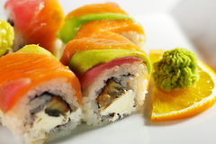 Maki Sushi - Rainbow Roll Royalty Free Stock Image