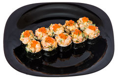 Maki sushi with red caviar. Royalty Free Stock Photography