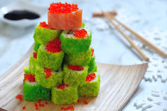 Maki Sushi Roll for Christmas Stock Photo