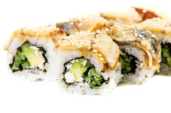 Maki Sushi-Roll with Cucumber, Cream Cheese, Tuna Stock Images