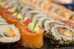 Maki sushi roll of Japanese food. A maki sushi roll of Japanese food royalty free stock images