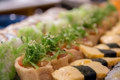 Maki sushi roll of Japanese food. A maki sushi roll of Japanese food royalty free stock photography