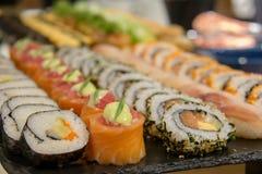 Maki sushi roll of Japanese food. A maki sushi roll of Japanese food royalty free stock photos
