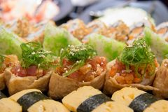 Maki sushi roll of Japanese food. A maki sushi roll of Japanese food stock photos