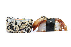 Maki sushi roll with sesame border and Anago sushi Stock Image