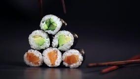 Maki sushi rolls. stock footage