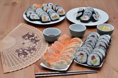 Maki sushi rolls and nigiri sushi japan food on the table Royalty Free Stock Photo