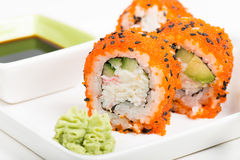 Maki sushi rolls on the plate Royalty Free Stock Photography