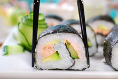 Maki sushi rolls with salmon and avocado Royalty Free Stock Photos
