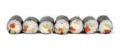 Maki sushi rolls with salmon and California cheese Stock Photos
