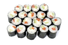 Maki sushi rolls with salmon and California cheese Royalty Free Stock Images