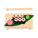 Maki sushi with salmon served on wooden board. Maki sushi with salmon served on wooden board with leaf, ginger, wasabi and chopsticks near. Vector illustration Royalty Free Stock Images