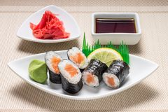 Maki sushi served with wasabi and ginger Stock Photo