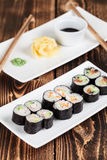Maki sushi set. With ginger, wasabi and soy sauce. Shallow dof Royalty Free Stock Photography