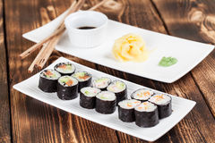 Maki sushi set. With ginger, wasabi and soy sauce. Shallow dof stock photos