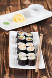 Maki sushi set. With ginger, wasabi and soy sauce. Shallow dof Royalty Free Stock Image