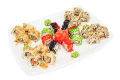 Maki sushi set of rolls  on white Royalty Free Stock Photos