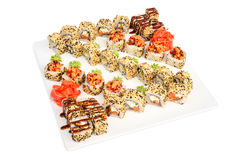 Maki sushi set of rolls  on white Stock Photo