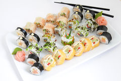 Maki sushi set on white plate. Traditional japanese sushi rolls Stock Image