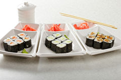Maki sushi sets Stock Photo