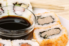 Maki sushi with soy sauce Stock Photo
