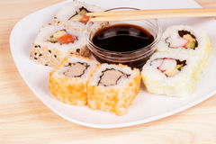 Maki sushi with soy sauce royalty free stock photography