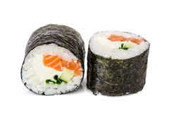 Maki sushi, two rolls  on white Stock Images