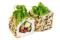 Maki sushi, two rolls  on white Stock Photo