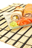 Maki sushi with wasabi on bamboo sushi mat Royalty Free Stock Photo