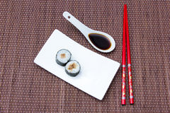 Maki with tuna on bamboo seen from above Royalty Free Stock Photo
